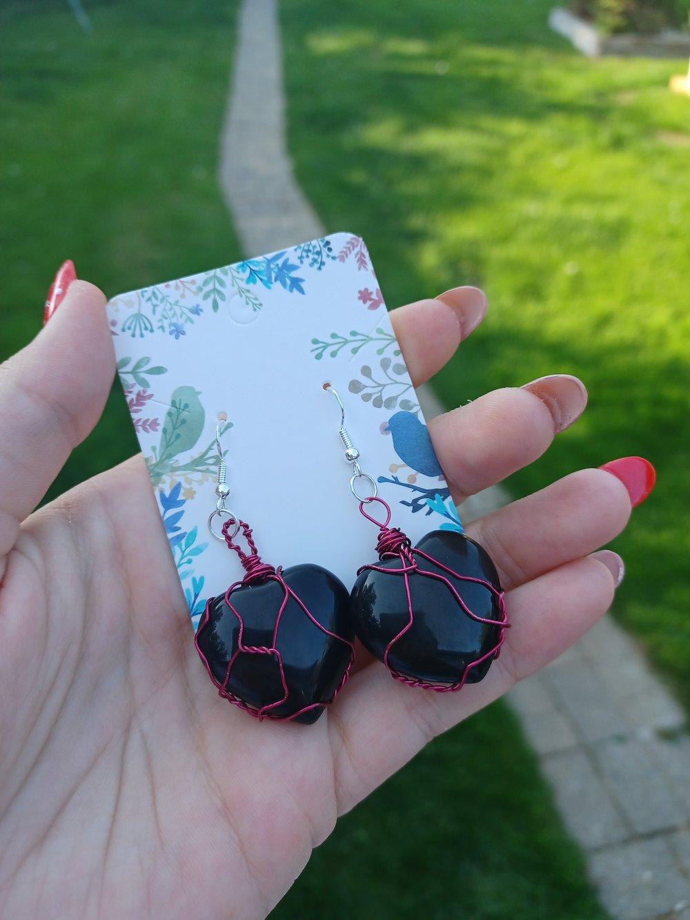 Image of Obsidian Heart Earrings