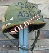 Image of Vietnam M-1 Helmet & Westinghouse liner Mitchell Camo Cover DEATH FROM ABOVE