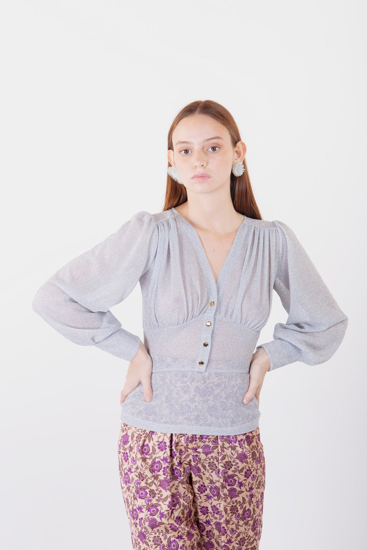 Image of MAGLIA MILLY LUREX ARGENTO