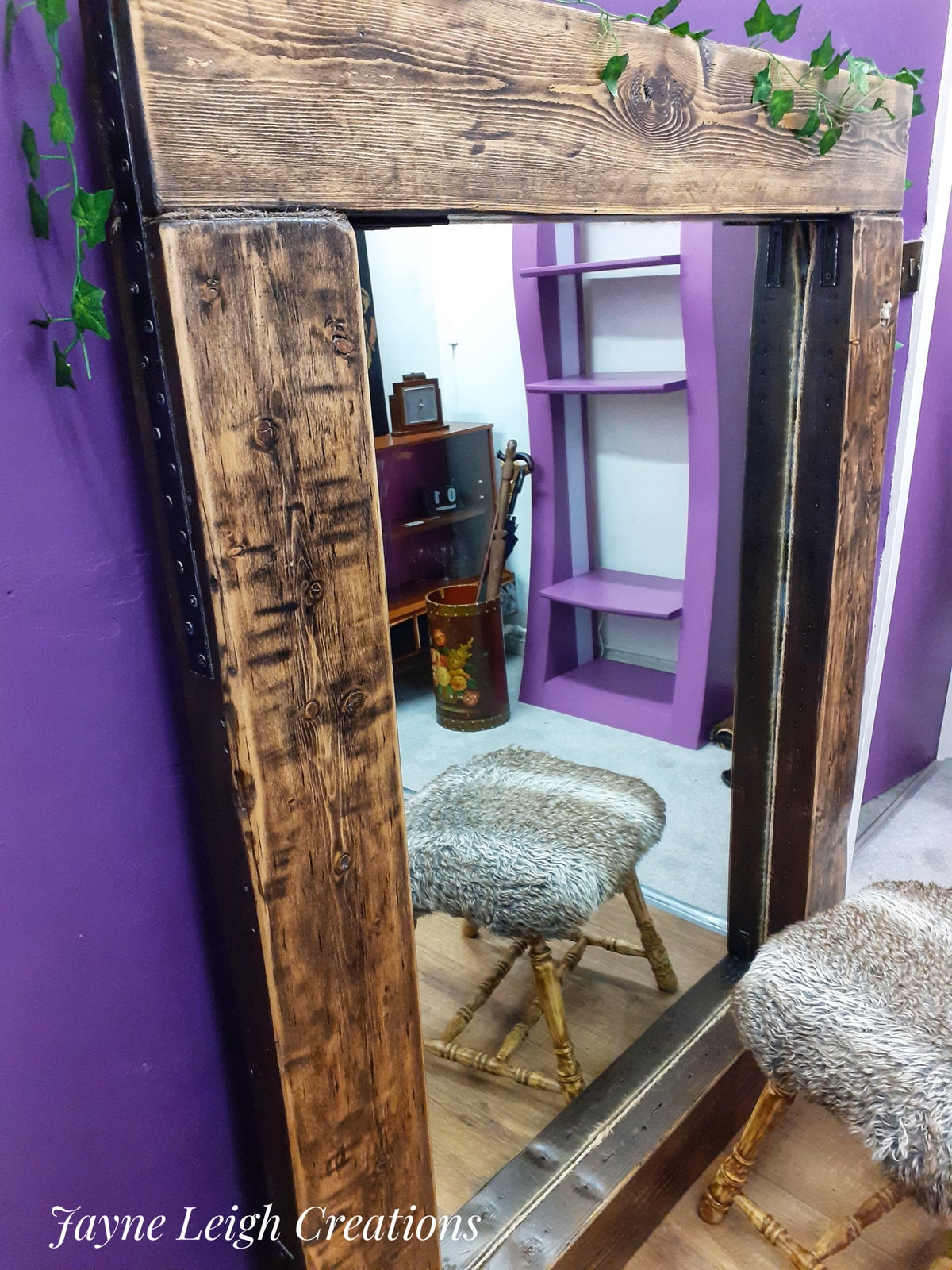 Image of Chunky Wood Leaner Mirror