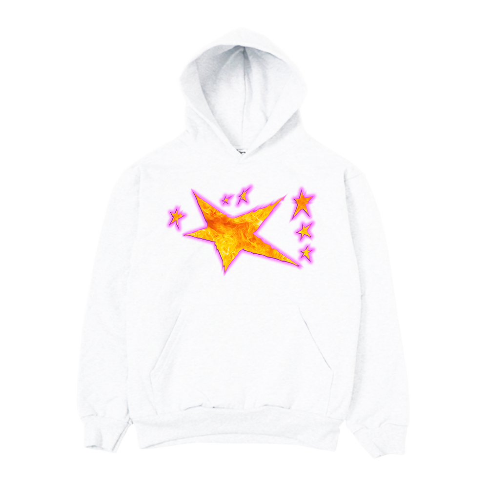 Image of Distorted Flame Hoodie White