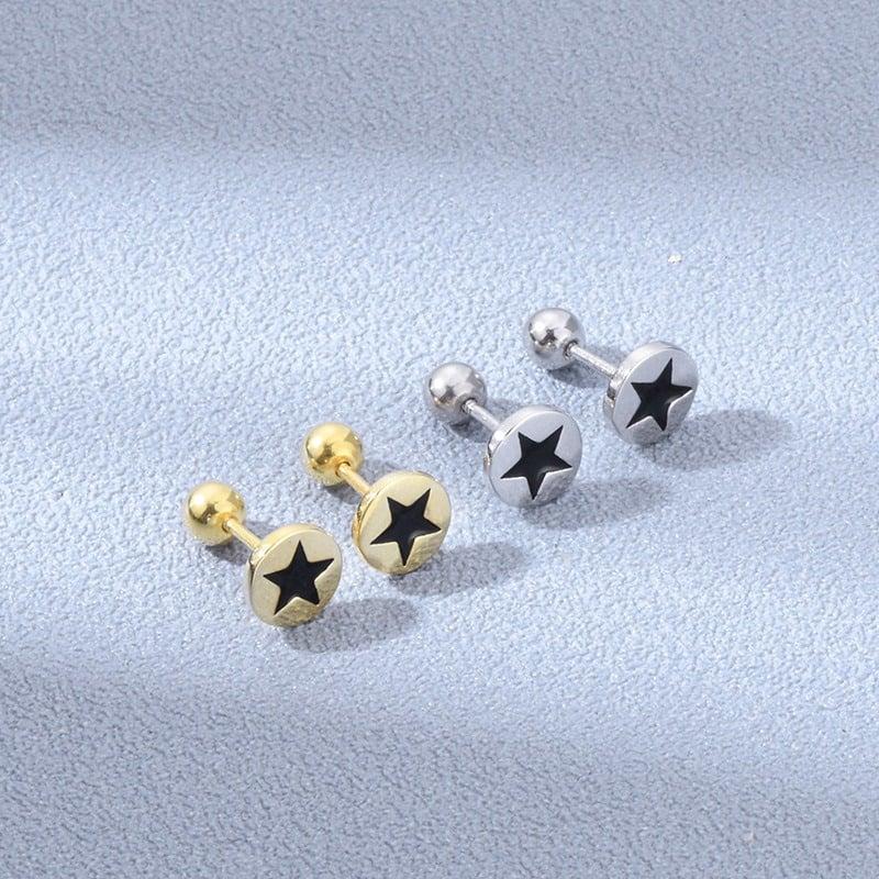 Blackstar Stud Earrings (925 Sterling Silver)