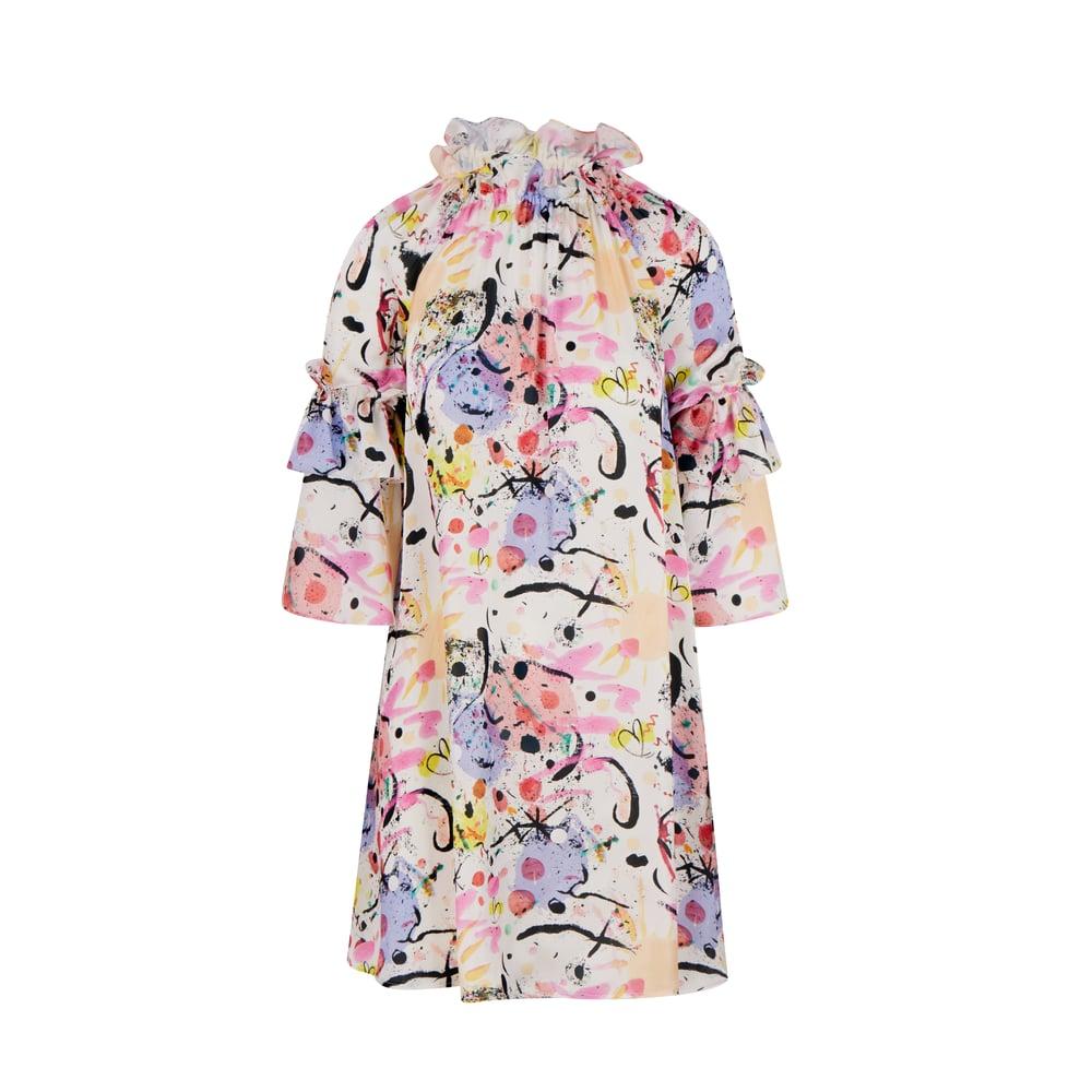 Image of Artist Smock Dress in 'Miro' Silk-Satin