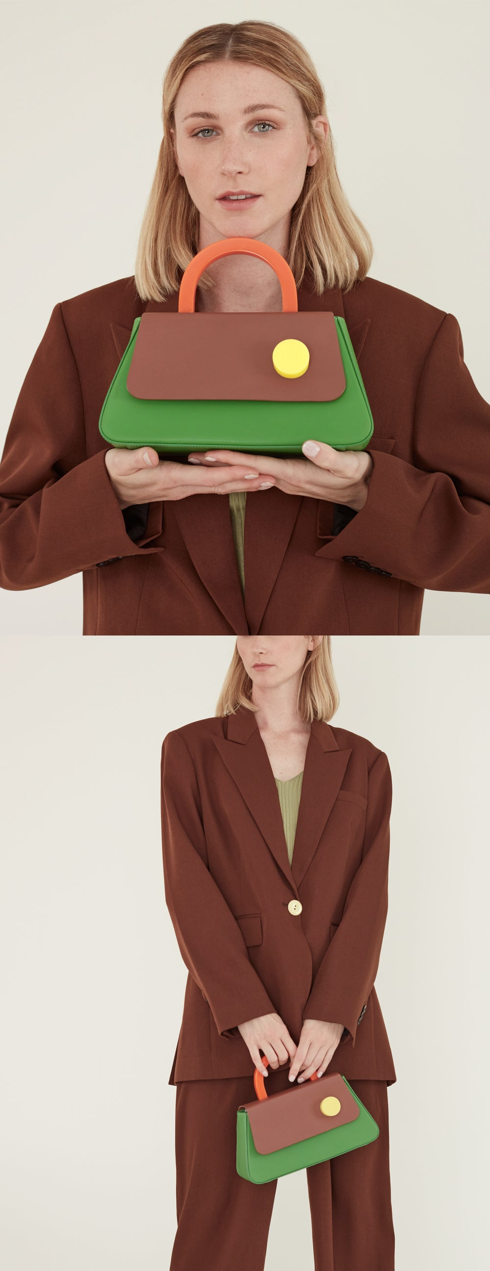 Alice Flap Bag • KELLY GREEN with strap
