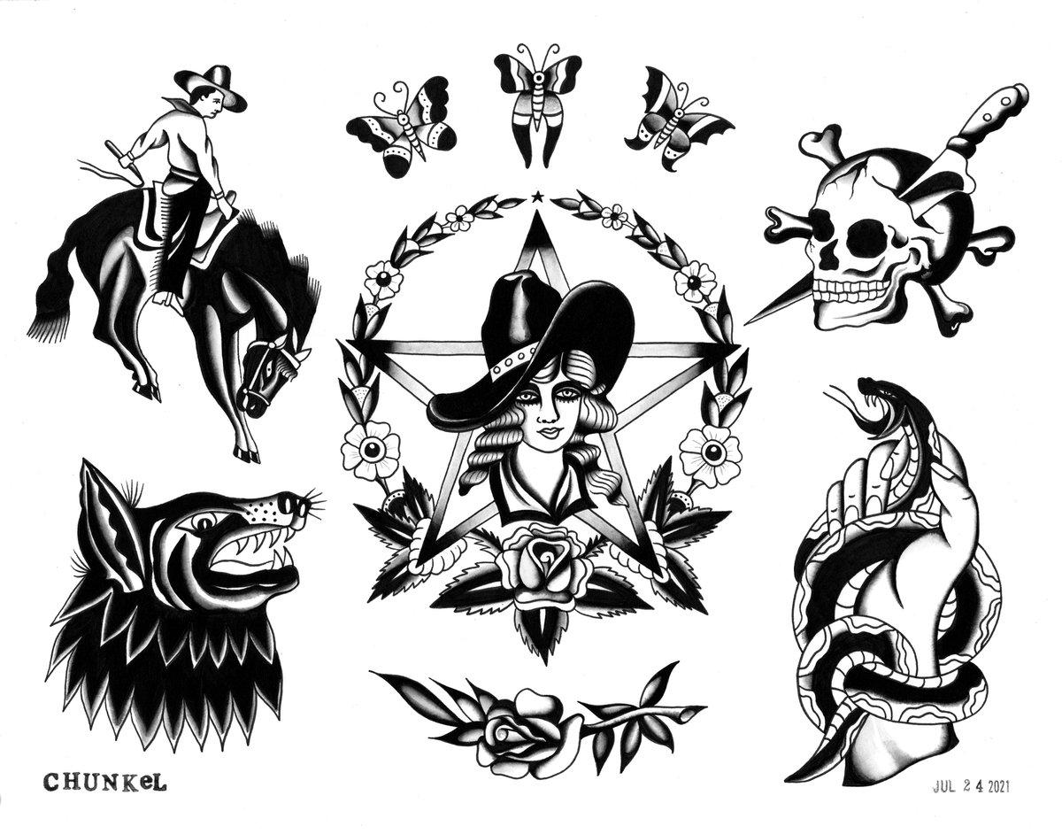 Image of Blackwork Rodeo Sheet (11x14 Print)