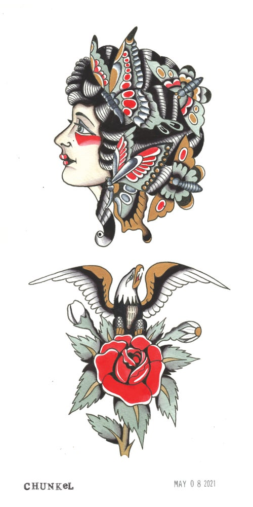 Image of Butterfly Lady & Eagle Rose (6x12 Print)