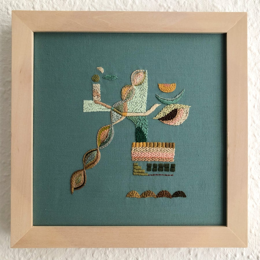 Image of Observation: If i can grow different than my DNA - One of a kind intuitive hand embroidery, Wall art
