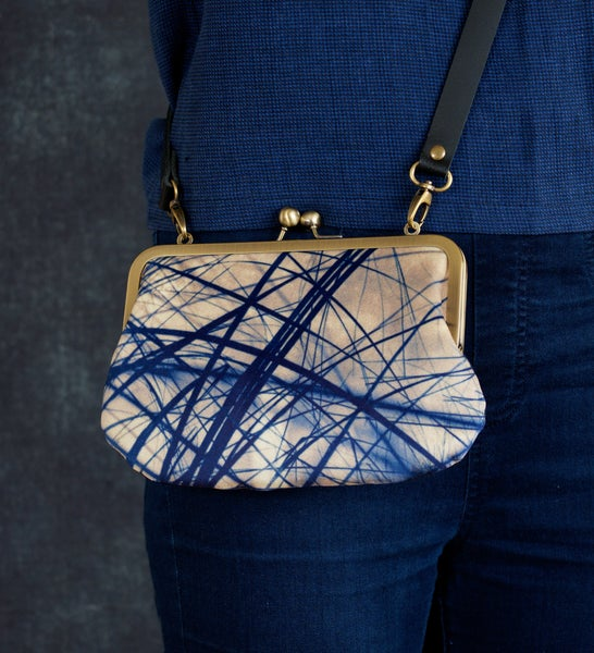 Image of Criss-cross grasses, velvet shoulder bag with leather or chain strap