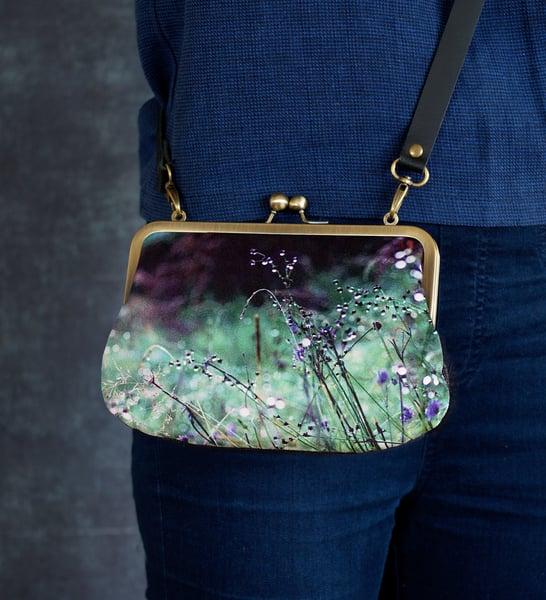 Image of Flowerdale, velvet shoulder bag with leather or chain shoulder strap