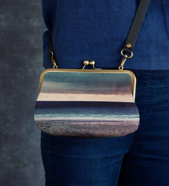 Image of Seascape, velvet shoulder bag with leather or chain shoulder strap