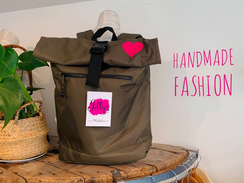ROLO - roll top rucksack with Harriet heart