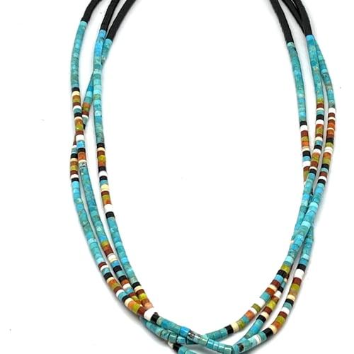 Image of Santo Domingo Mixed Heishi Layered Necklace (Turquoise River)