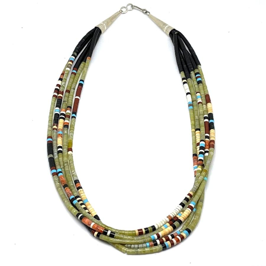 Image of Santo Domingo Mixed Heishi Layered Necklace (Sweet Sage Mosaic)