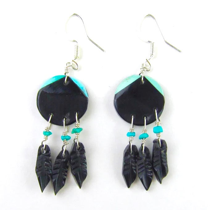 Image of Jet and Turquoise Shield Earrings