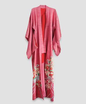 Image of Rosa silke kimono med kirsebærblomster
