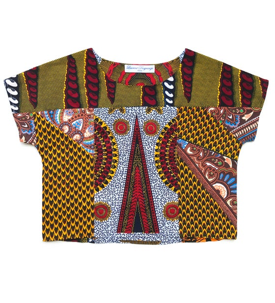 Image of Upcycled-patchwork wax crop top
