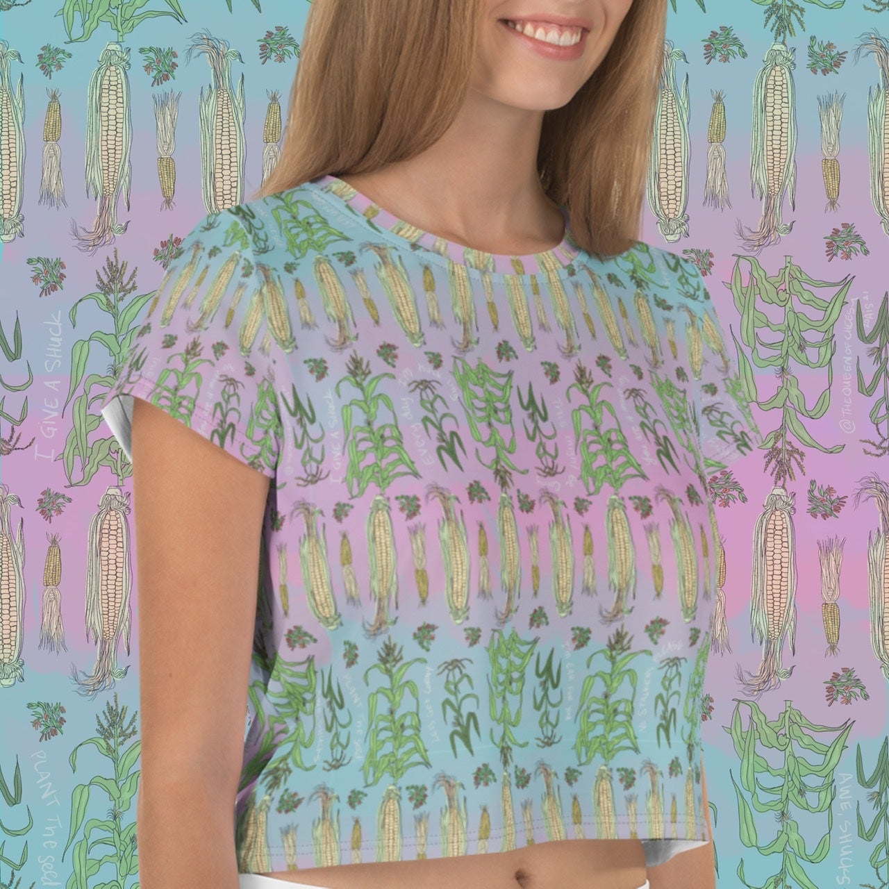 Image of Corny All-Over Print punny Crop Top Tee