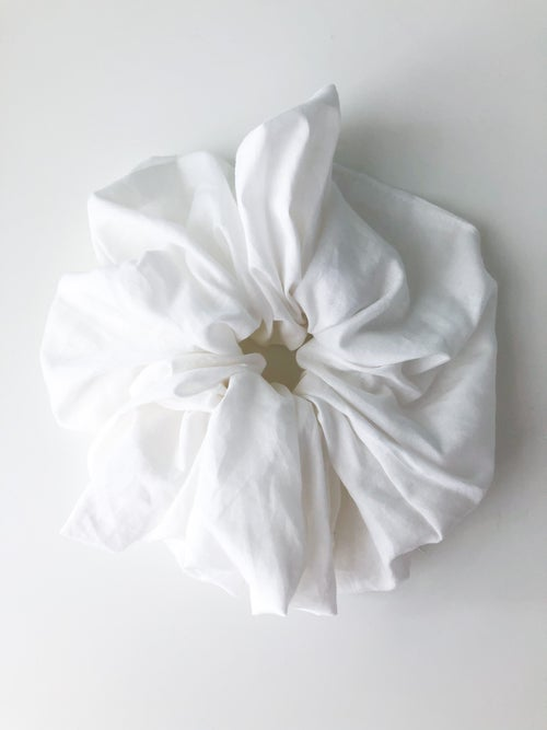 Image of CLOUD Handmade Scrunchie ⌀21cm (8″) - from dead stock Cotton fabric, with recycled paper labels