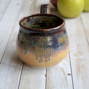 Image of Gorgeous Amber Brown, Gold and Blue Pottery Mug, 15 oz. Handcrafted Coffee Cup, Made in USA