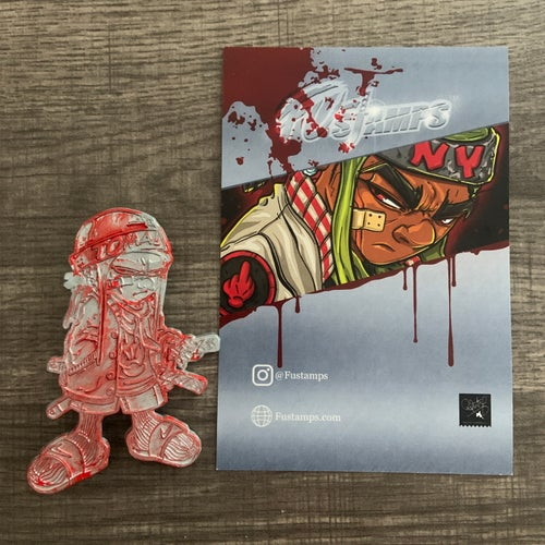 """Image of FU-Stamps limited Edition SkrewFace enamel pin """"Buck50"""" variant."""