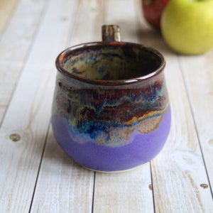 Image of Gorgeous Amber Brown, Gold and Purple Pottery Mug, 15 oz. Handcrafted Coffee Cup, Made in USA