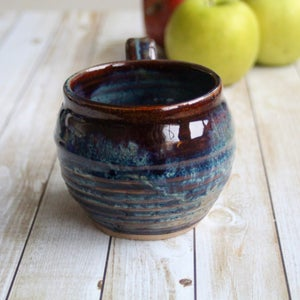 Image of Gorgeous Amber Brown, and Blue Pottery Mug, 12 oz. Handcrafted Coffee Cup, Made in USA