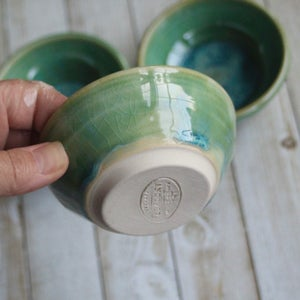 Image of Shimmering Green Prep Bowls, Set of Three Ceramic Handmade Pottery Bowls, Made in USA