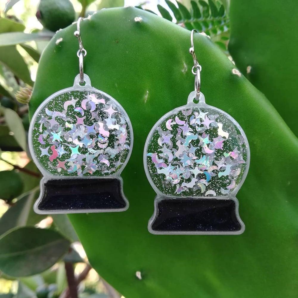 Crystal Ball Earrings Silver Bats Edition