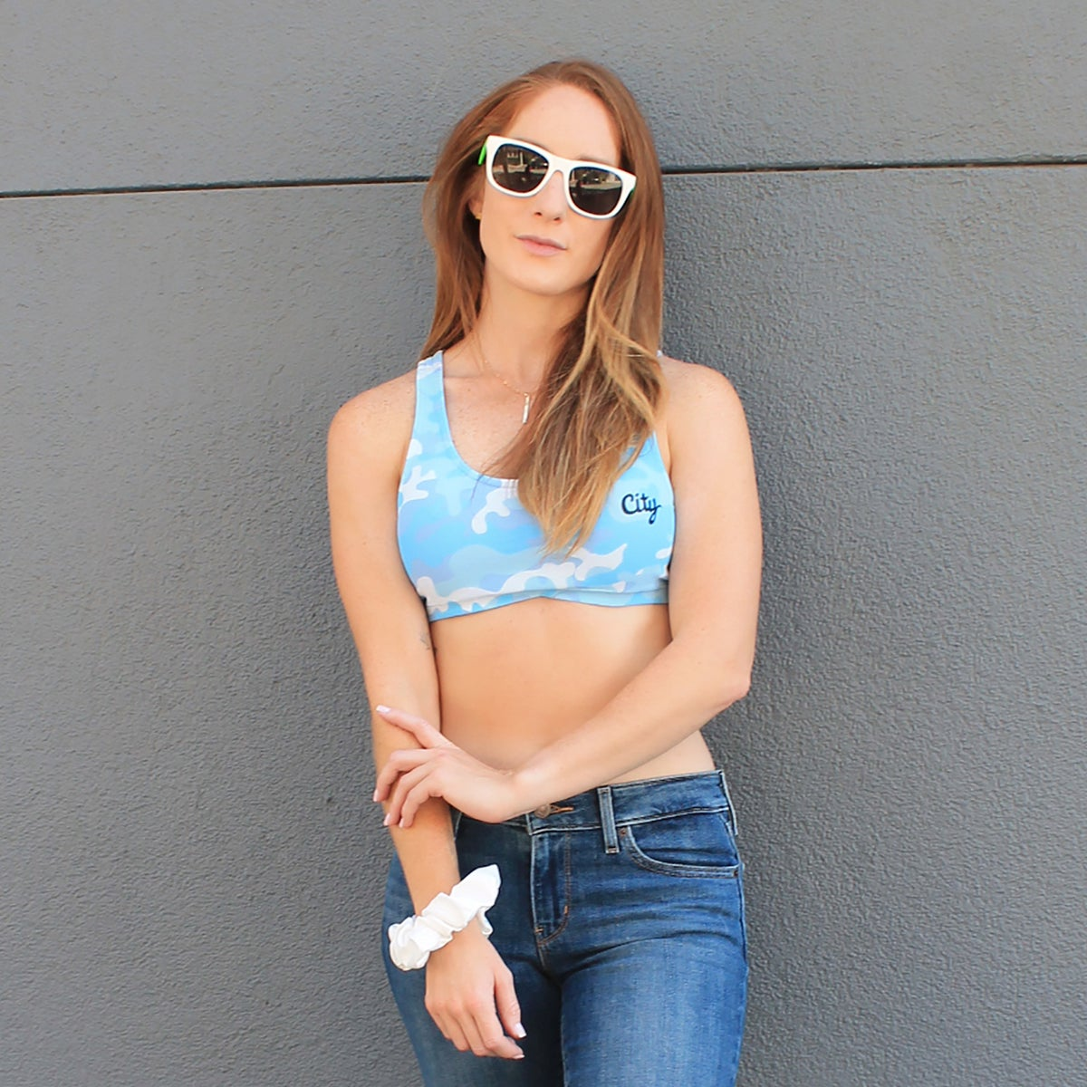 Image of $13 CAMO BLUE CROPPED TANK