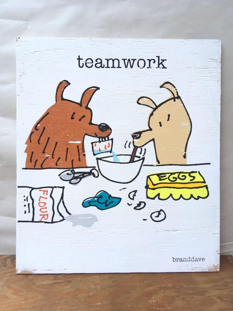 Image of Teamwork - print on wood panel