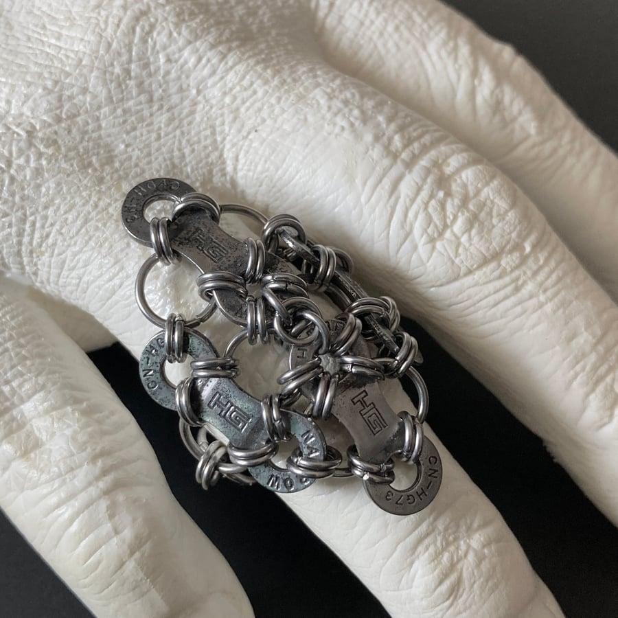 Image of Upcycled Bike Chain Diamond Ring