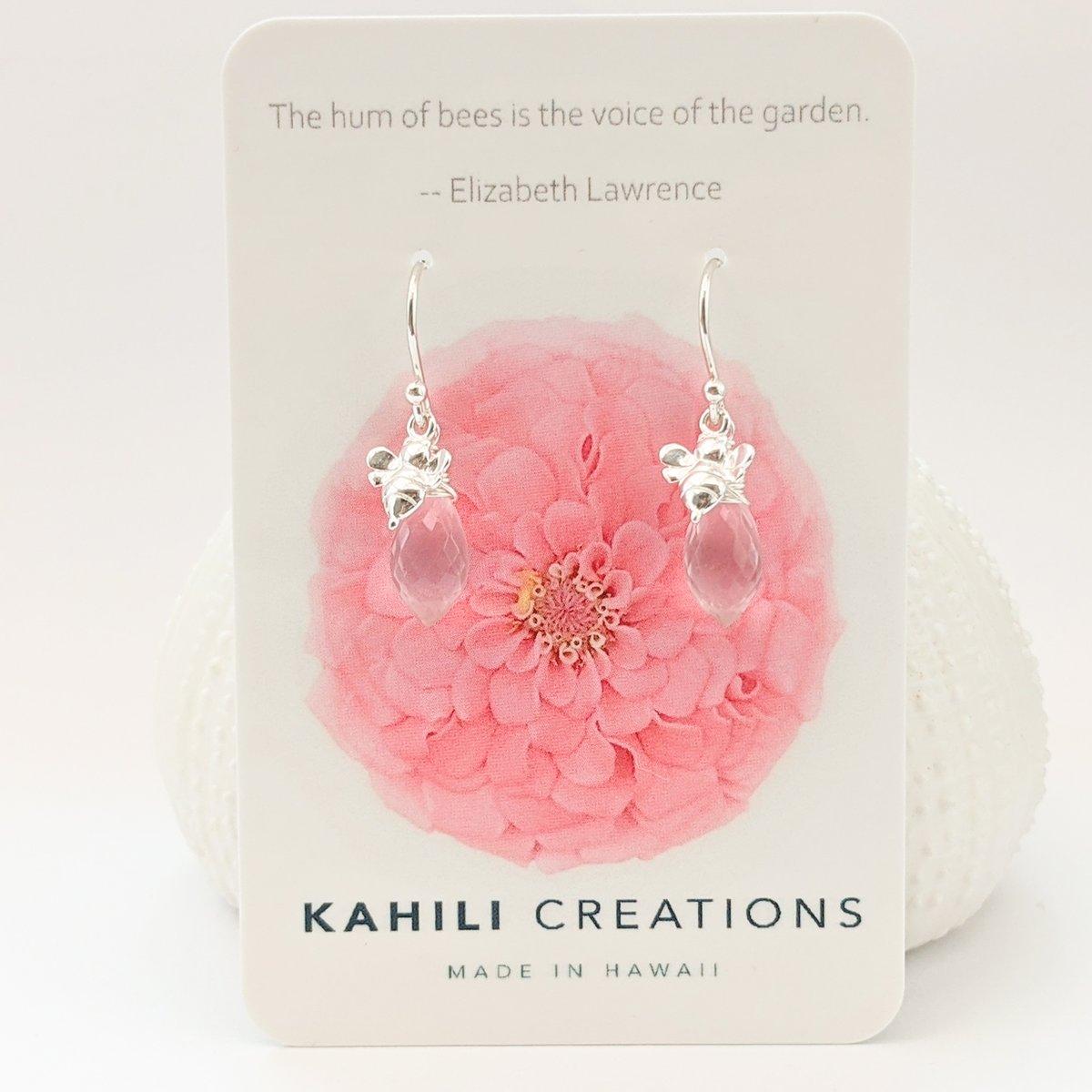 Image of Rose Quartz Bee Earrings
