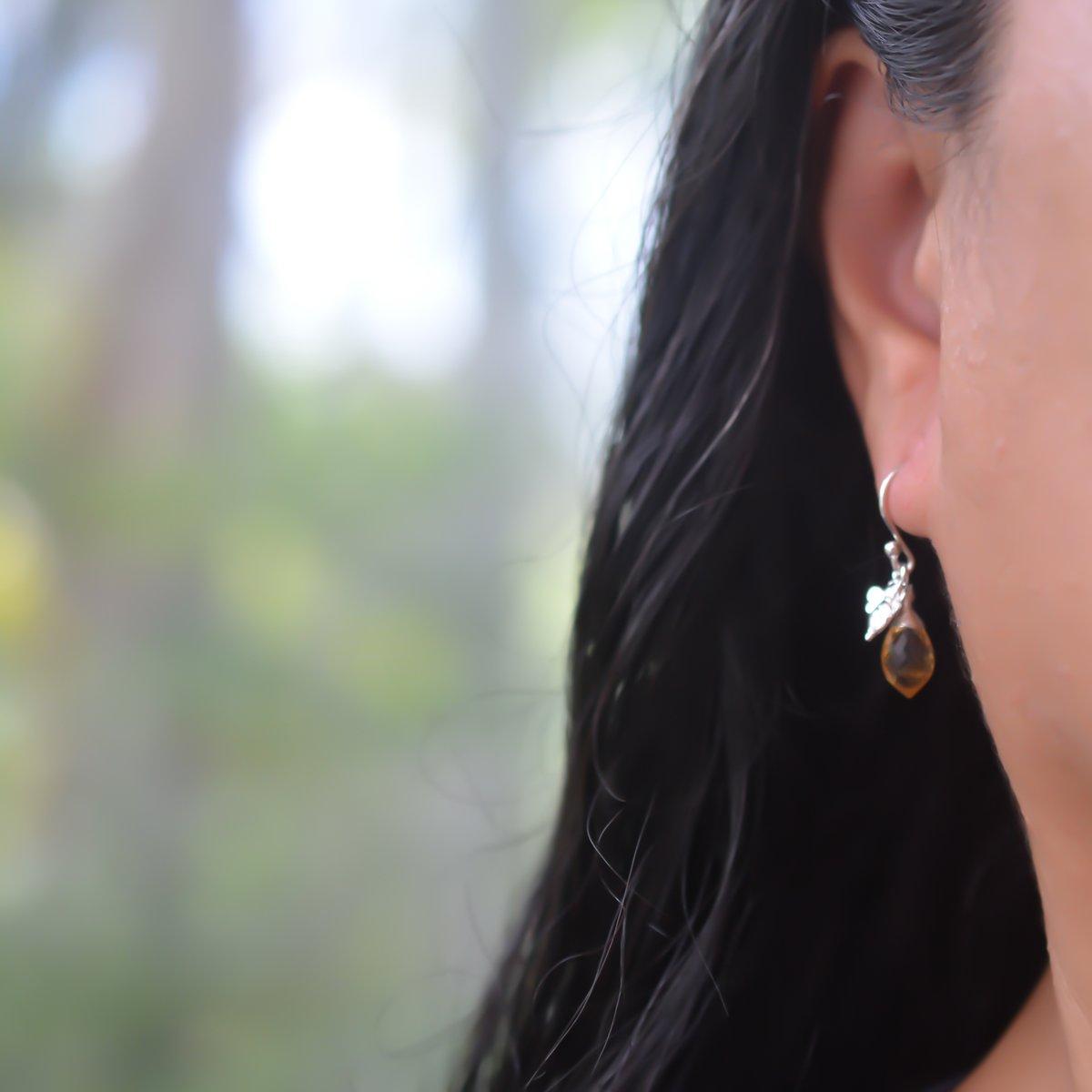 Image of Citrine Bee Earrings Sterling Silver