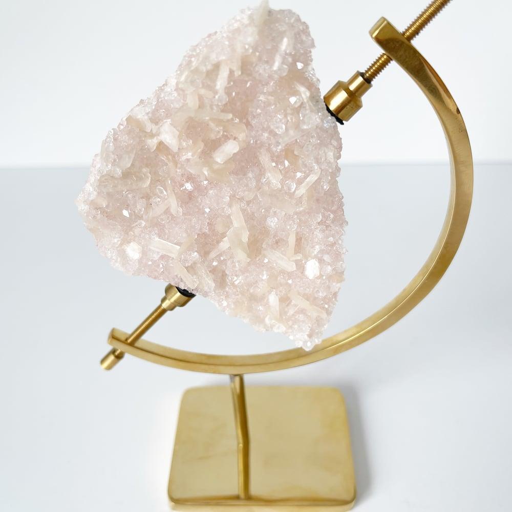 Image of Pink Quartz no.91 + Brass Arc Stand
