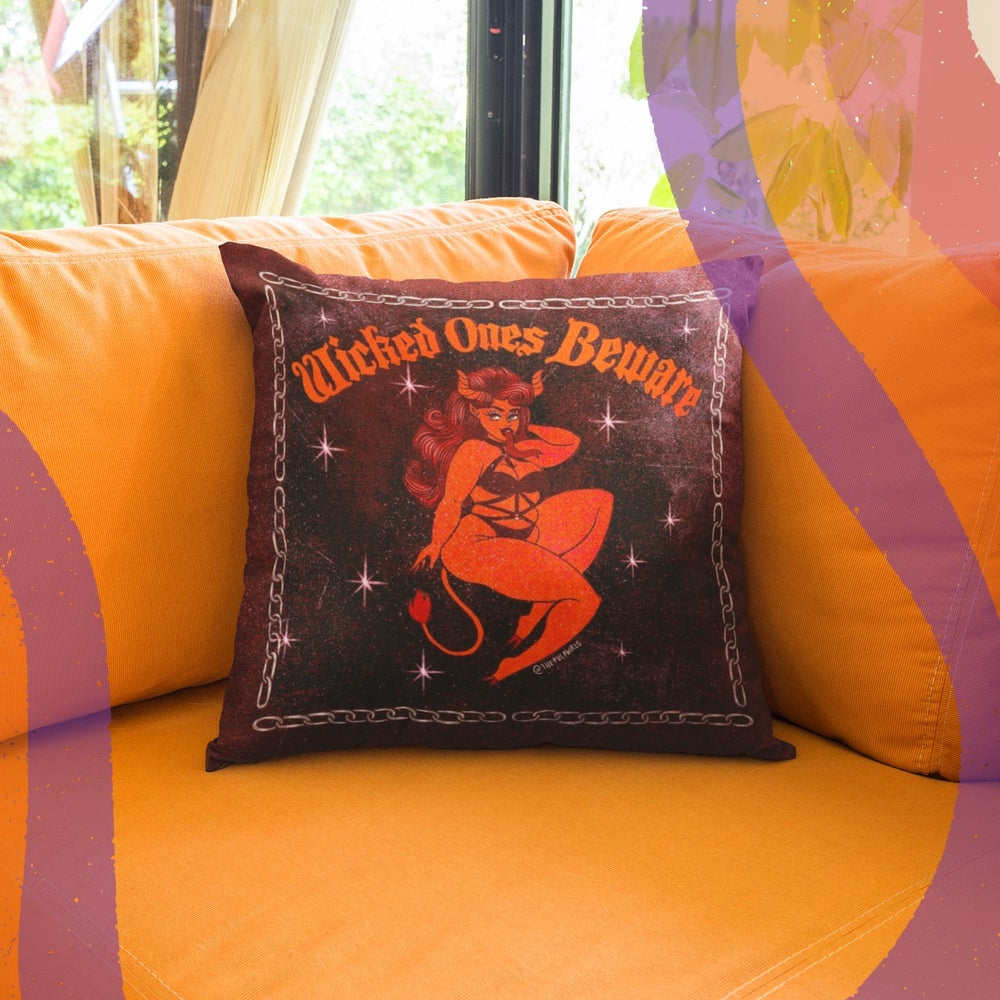 Image of WICKED ONES BEWARE THROW PILLOW