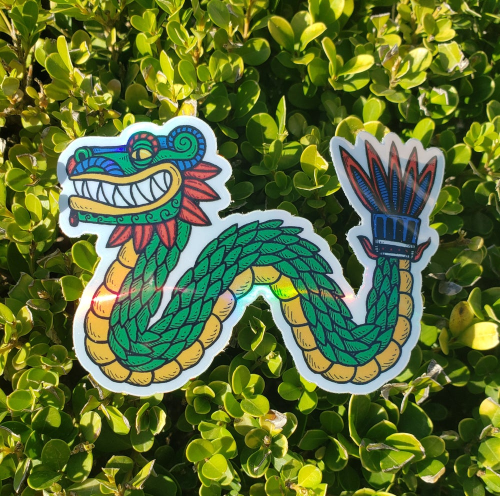 Quetzalcoatl Feathered Serpent Holographic Sticker