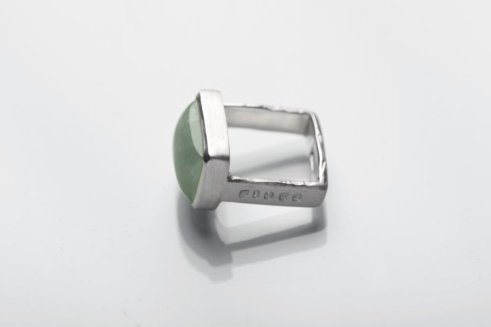 Image of ''Faith in truth and...'' silver ring with aquamarine · FIDES VERI ET FIDUCIA ·