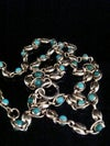 VICTORIAN 15CT NATURAL TURQUOISE BOTH SIDES CHAIN 16.5 INCHES 14.2g