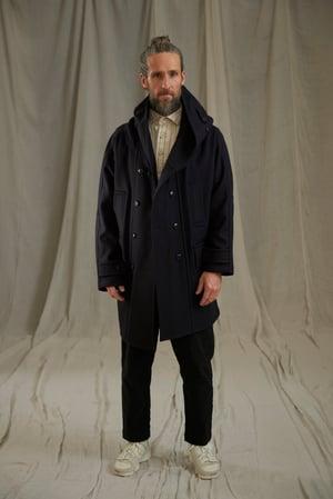 Image of FISHERMAN WOOL LONG COAT - DARK NAVY
