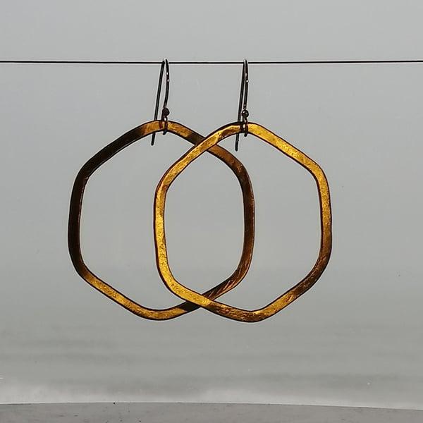 Image of Hexagonal raw organic shape hoops