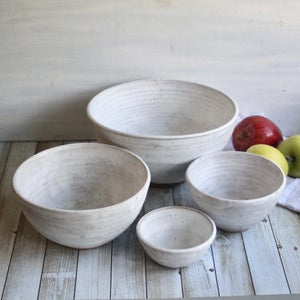 Image of Rustic Modern Set of Four Nesting Bowls in White Matte Glaze, Speckled Pottery Made in USA
