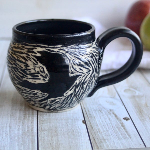 Image of Black Crow Sgraffito Mug, Hand Carved Raven Coffee Cup, 14 oz., Made in USA
