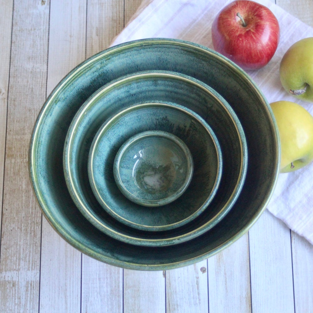Image of Rustic Nesting Bowl Set in Textured Green Glaze, Set of Four Ceramic Bowls, Made in USA