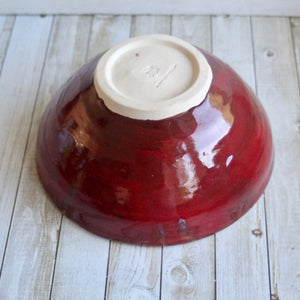 Image of Rustic Green and Red Serving Bowl, Handcrafted Pottery Centerpiece, Made in USA