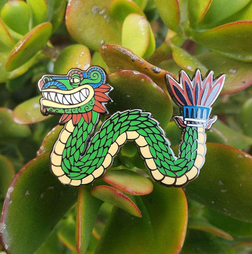 Quetzalcoatl Feathered Serpent Enamel Pin