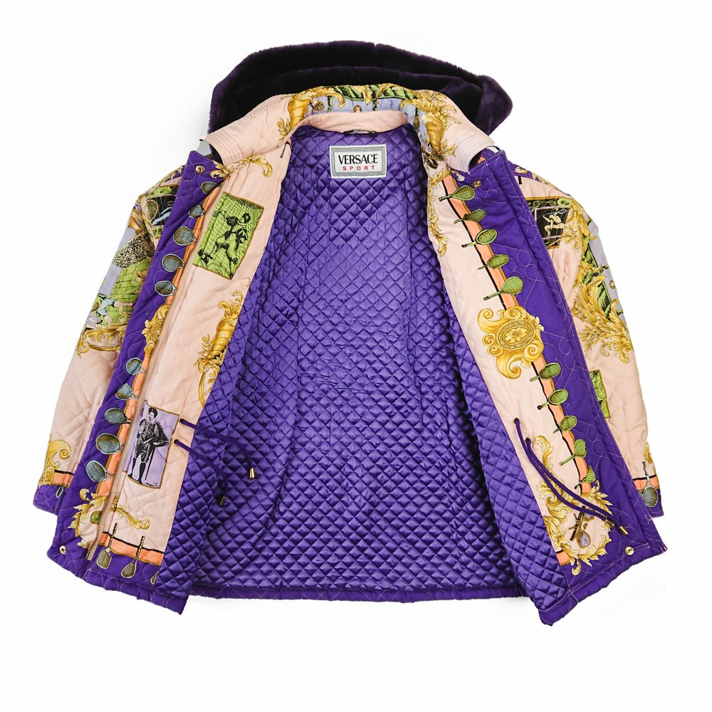 Image of Versace Sport Tennis Baroque Quilted Parka
