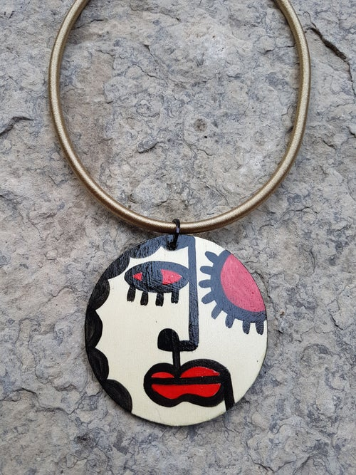 Image of small painted pendant #1
