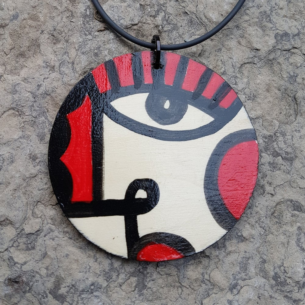 Image of small painted pendant #2