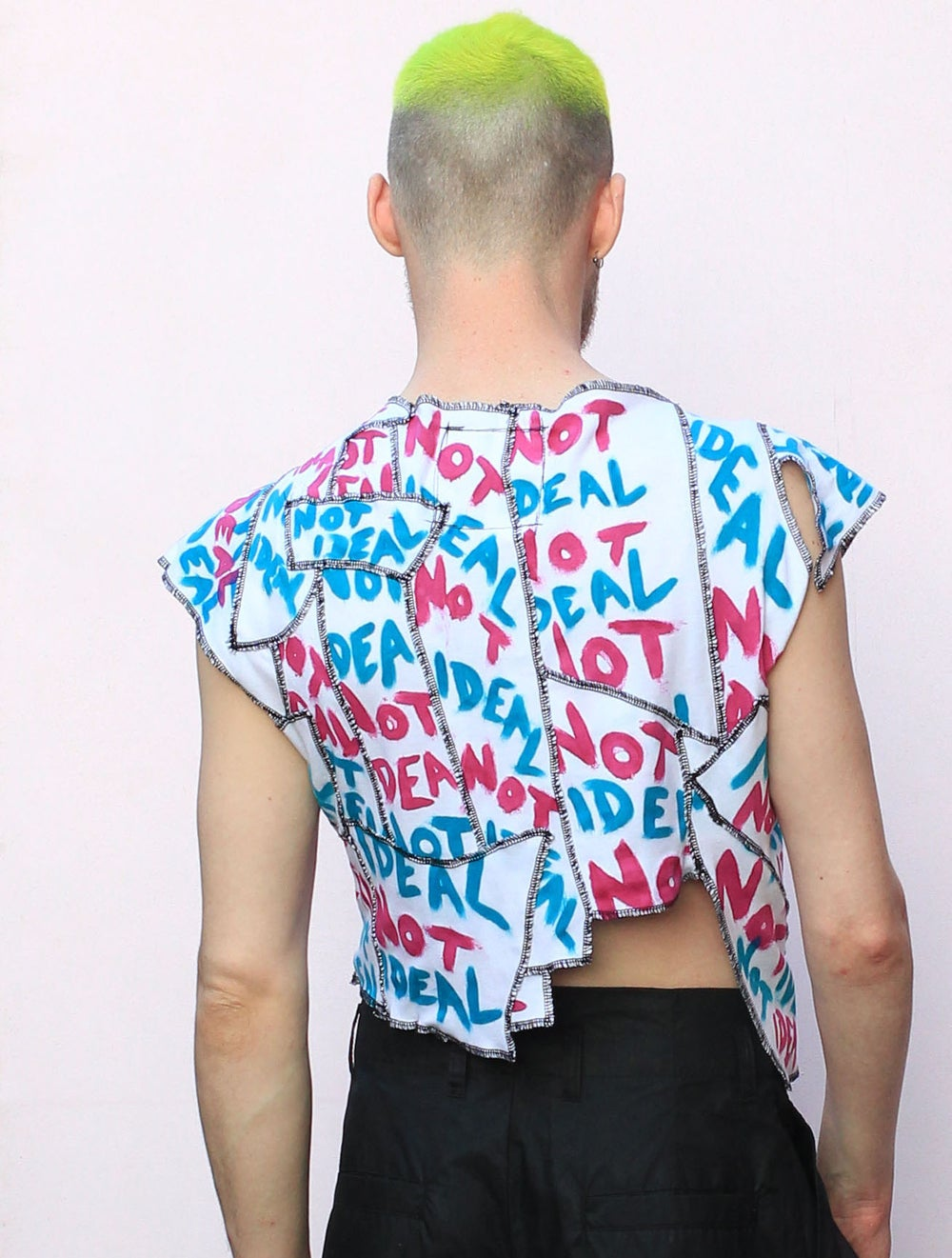 NOT IDEAL PINK AND BLUE DECONSTRUCTED PATCHWORK TOP