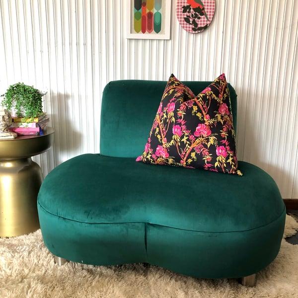 Image of Green velvet love seat
